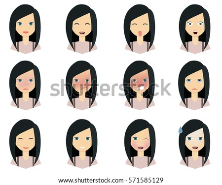 Cute Peoples Faces Vectors Download Free Vector Art Stock - Girl hairstyle vector free download