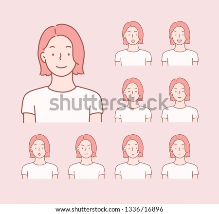 Set of woman's emotions. Facial expression. Hand drawn style vector design illustrations.