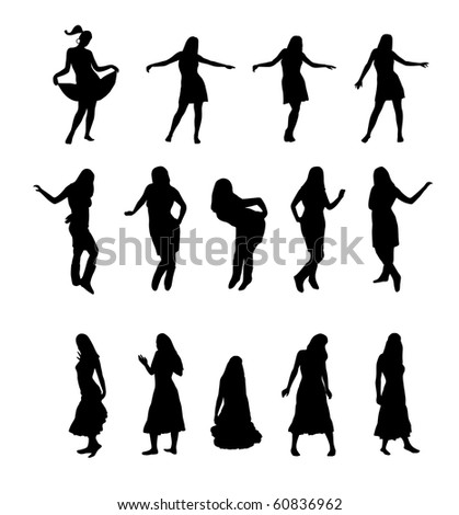 set of 14 woman silhouettes, for your graphic design