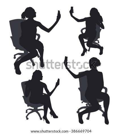 Set of woman sitting silhouettes taking selfie with smart phone