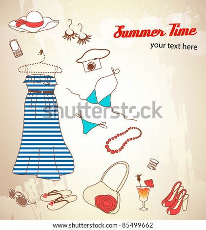 Set of woman summer icons