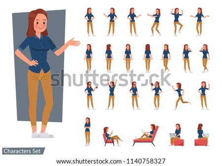 Set of woman wear blue jeans shirt character vector design. Presentation in various action with emotions, running, standing and walking.
