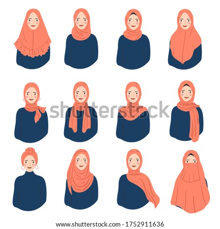 set of woman wear hijab in trendy style. various muslim woman character avatar.  Stockfoto ©