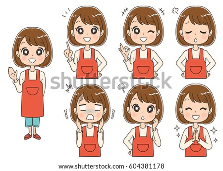 set of woman with different