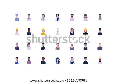 Set of women and men design, Diversity people workers actions working occupation jobs proffesional employee service and labor theme Vector illustration