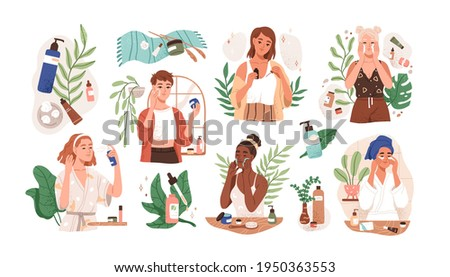 Set of women applying cleansing and moisturizing face skincare products at home. Everyday skin care routine with cleanser and moisturizer. Colored flat graphic vector illustration isolated on white