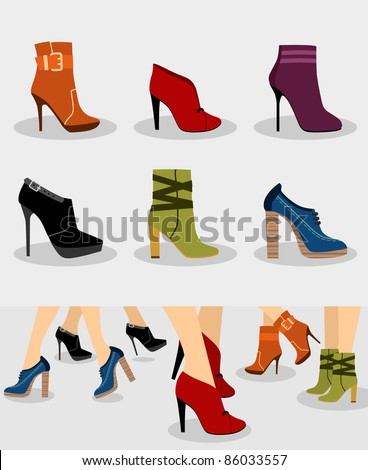 Set of women boots and Illustration with boots on legs
