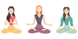 Set of women doing yoga. Female characters in lotus position.