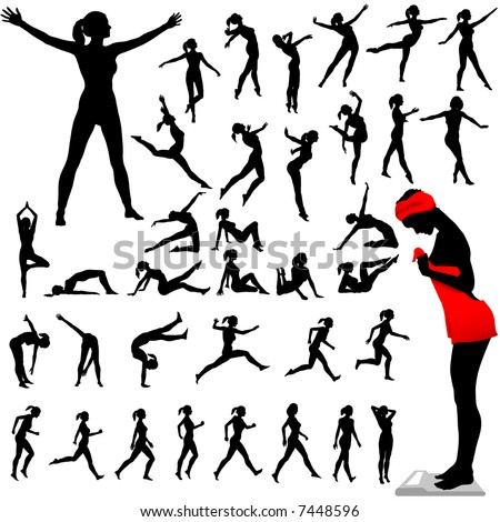 Set of women exercise, do aerobics, calisthenics, dance, run, walk in a group of silhouettes.
