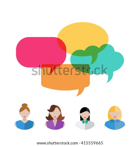 Set of women icons with colorful quote bubbles. Female avatars with speech bubbles. Vector.