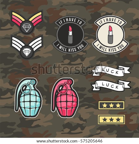 set of women military and army