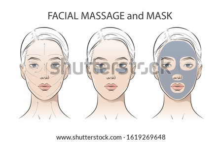 Set of women portrait face with clay cosmetic mask and skin care, cleans pores strip with various skincare treatments. Steps how to apply facial massage. Vector Line illustration, outline drawing