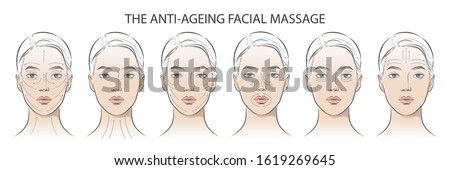 Set of women portrait facial massage instructions. Anti-ageing, lifting sculpt methods. lines scheme for Glowing and Slimmer Skin. How to apply cream to the face and neck. Relaxing techniques. Vector