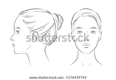 Set of women portrait vector face in profile aspect. young beautiful girl looking side and front angles. Close up black and white line sketch isolated illustration Foto stock ©