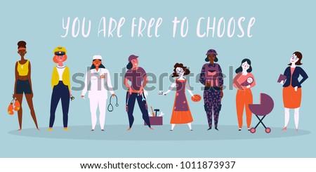 set of women professions boxer