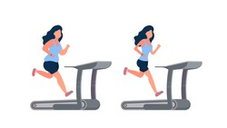 Set of women running on the simulator. Fat girl runs on a treadmill. The concept of losing weight and a healthy lifestyle. Isolated. Vector