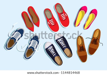 Set of women's and men's shoes top view. Pink and red female shoes. Red women's sneakers. Brown men's shoes. Blue men's sneakers. Flat vector women's and men's shoes isolated on light blue background