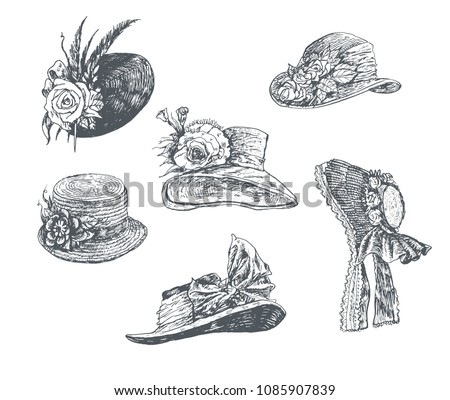 Set of women's hats. Vintage Hand Drawn collection. Fashion retro Illustration in ancient engraving style