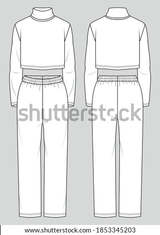 Set of women's homewear. Fashion sketch. Crop turtleneck and straight pants. Vector illustration. Flat technical drawing. Mockup template. Stock photo ©