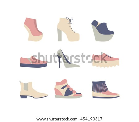 set of women's shoes gray