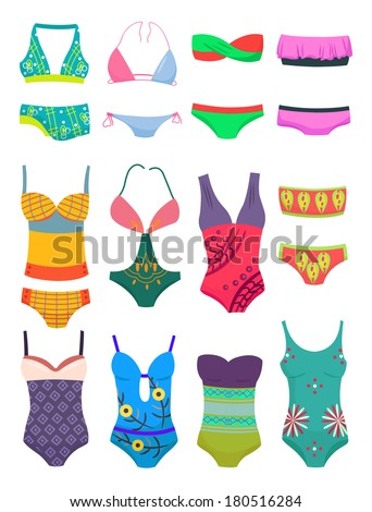 set of women's swimwears