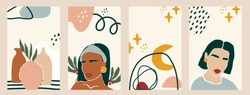 Set of women silhouettes and various objects. Abstract female portraits. Paper cut mosaic style. Modern hand drawn vector illustrations. Flat design. Social media backgrounds. SmartPhone wallpapers