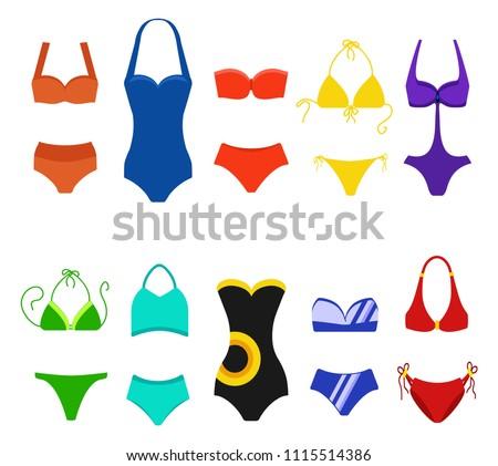 Set of women swimsuit isolated on white background. Bikini bathing suits for swimming. Fashion bikini, tankini and monokini collection. Vector illustratiom