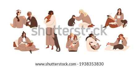 Set of women with cute cats. Female pet owners with animals at home. Scenes with happy people and funny adorable kitties. Colored flat vector illustration isolated on white background