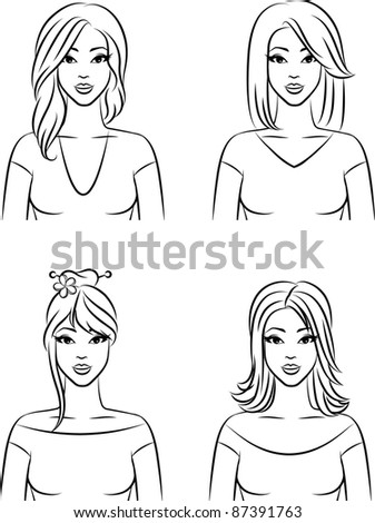 Set of  women with hairstyle. Vector
