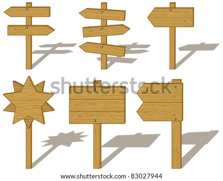 Set of wood board signs isolated on white background