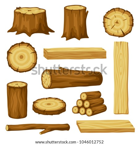 Set of wood logs for forestry and lumber industry. Illustration of trunks, stump and planks. #1046012752