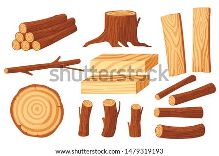set of wood logs for lumber