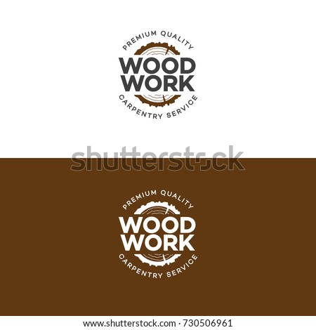 Set of wood work logo with sawed wood isolated on background for wood master, carpentry service and sawmill service. Wood work stamp and manufacture banner. Vector illustration