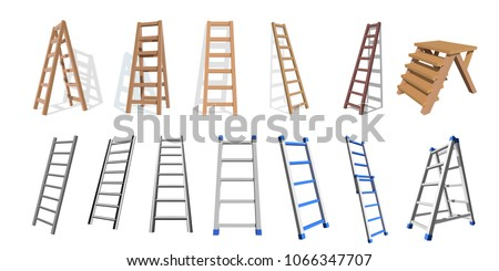 Set of wooden and metall stairs. Wooden, metall  staircase on a white background. Vector ladders illustratio Photo stock ©