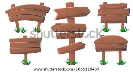 Set of wooden banner signboard. Wooden signs, arrows and pointers for games. Blank, transparent isolated wooden boards. Can be used for old signposts. Vector illustration ストックフォト ©