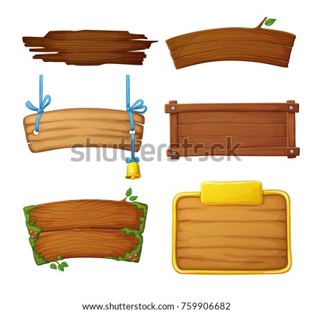 set of wooden banners with