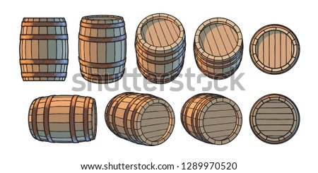 Set of wooden barrels in different positions. Front side three quarters views at different angles. Vector illustrations isolated on white background.
