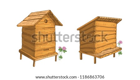 Set of wooden beehives isolated on white background. Hives or structures for honey production, bee colony housing, beekeeping. Colorful hand drawn vector illustration in elegant vintage style. Сток-фото ©
