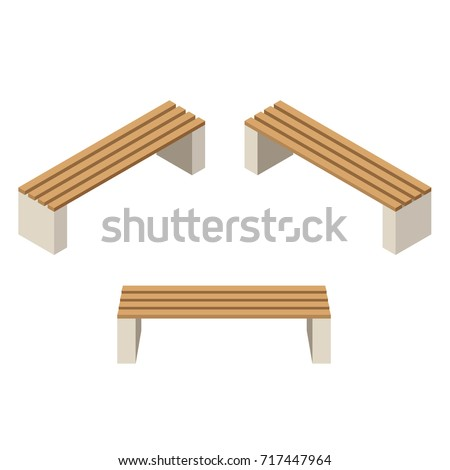 Set of wooden benches.isolated to construct garden, farm or other outdoor scenes. Can be used in game or cartoon asset. Vector illustration, isometric and top down view