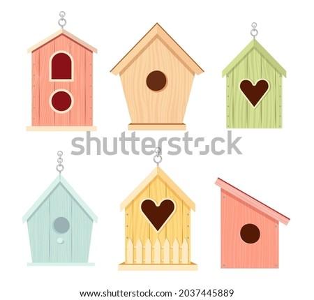 set of wooden bird houses