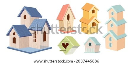 set of wooden bird houses  two