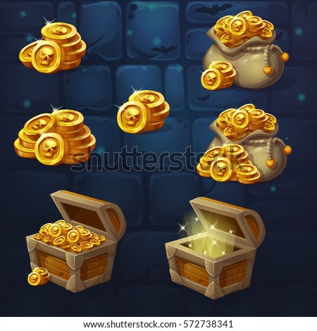 set of wooden chests with coins