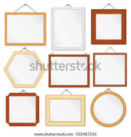 Set of wooden frames on white background, vector eps10 illustration
