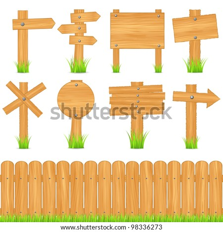 Set of wooden objects, vector eps10 illustration