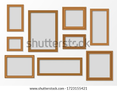 Set of wooden realistic frames with shadow. Vector illustration