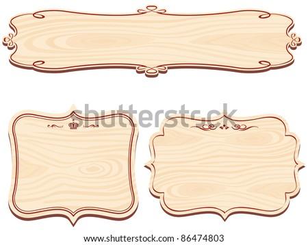 Set of Wooden Sign vector