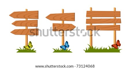 Set of wooden sign. Vector illustration
