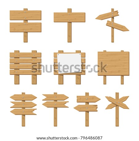 Set of wooden signboard and road sign. Announcement board with paper placard. Vector illustration in flat style