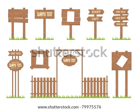 Set of wooden signs and arrows, vector