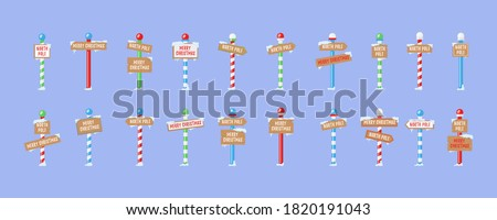 Set of wooden street signs in the snow, winter pointers in flat style. Cute collection of North Pole signs or Christmas. Winter holiday xmas symbol, cartoon banner. Vector illustration, eps 10.